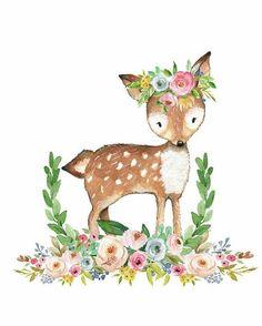 Boho digital art - boho woodland baby nursery deer floral watercolor by pink forest cafe Scrapbooking Image, Woodland Baby Nursery, Forest Cafe, Crown Drawing, Crown Art, Baby Flower Crown, Pink Forest, Nursery Art, Girl Nursery