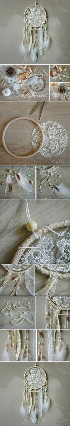 Lace dream catcher DIY Tutorial How-To by Lace Traumfänger DIY Tutorial How-To von Diy Home Crafts, Cute Crafts, Decor Crafts, Easy Crafts, Arts And Crafts, Handmade Crafts, Kids Crafts, Home Decor, Diy Décoration