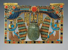 Inlaid pectoral, Winged scarab with goddesses Isis and Nephthys, Tutankhamun and the Golden Age of the Pharaohs, Page 257 Ancient Symbols, Ancient Art, Egypt Museum, Egypt Jewelry, Kemet Egypt, Ancient Egyptian Jewelry, Field Museum, Isis Goddess, Egypt Art