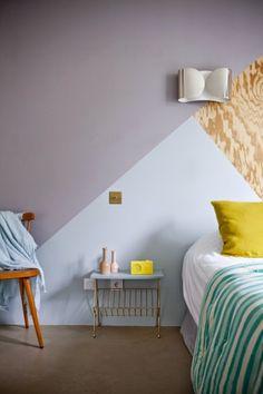 Verschillende hoeken en kleuren op een muur, idee!