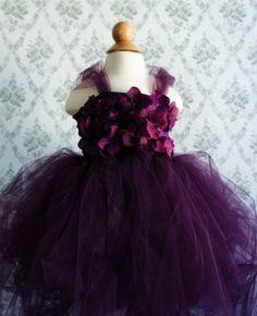 Gorgeous Flower Girl Tutu Dress, Photo Prop, in Deep Purple, Flower Top