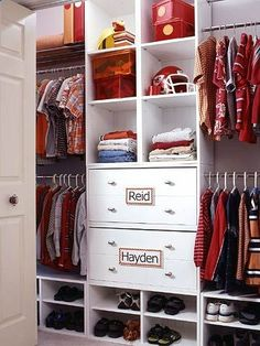Two Boys, One Closet Problem: Toys, shoes, and who-knows-what-else ends up in a jumble on the floor of a shared kids closet. Solution: The secret is in giving each child his own space, even when its shared. Separate the space into two sides, and use name tags to label whos who.