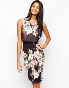 Lipsy+2+in+1+Floral+Printed+Bodycon+Dress