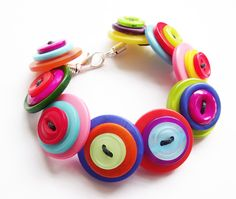 Handmade Bright Rainbow Button Bracelet  £8.00