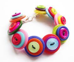 Handmade Bright Rainbow Button Bracelet  £8.00