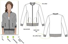 Sharon Sweat Top/Varsity Jacket-style sewing pattern from StyleArc.