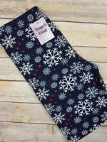 Snowflake Christmas Leggings Blue Holiday Print Buttery Soft ONE SIZE OS