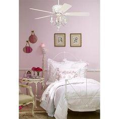 Crystal Bead Candelabra Antique White Ceiling Fan Light Kit - #01464 | LampsPlus.com