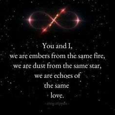 """You and I, we are embers from the same fire, we are dust from the same star, we are echoes of the same love."" - Creig Crippen"