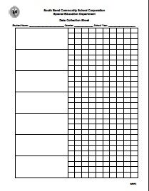 Data Sheets for IEP data collection
