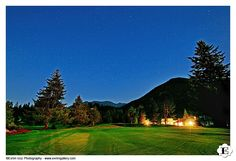 The wedding Venue at night at this Resort At The Mountain Wedding