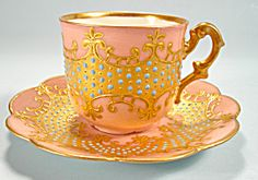 Rare Jeweled Limoges Demi Cup and Saucer Heavy Gold