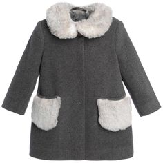 Il Gufo Girls Grey Wool & Cashmere Coat at Childrensalon.com