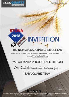 BABA-Quartz at #Stona 2018 #Bangalore. 07 - 10 Feb 2018, BOOTH NO. H1LL-30 Bangalore International Exhibition Center, Bengaluru  STONA 2018 - 13th International Granites & Stone Fair STONA Granite & Stone Fair Bangalore, India