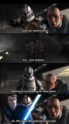 Clone Wars Discover Its. Just children. Nothing to worrVabout 99 false alarm. - iFunny :) Found on iFunny Star Wars Jokes, Star Wars Facts, Star Wars Comics, Star Wars Pictures, Star Wars Images, Star Wars Rebels, Star Wars Clone Wars, Star Trek, Prequel Memes
