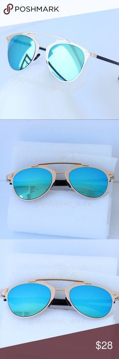 Blue Gold Reflective Bohemian Aviators • NWOB • ❤️ BUNDLES ❌ NO TRADES ❌ NO Low balling!  • NWOB • Accessories Sunglasses