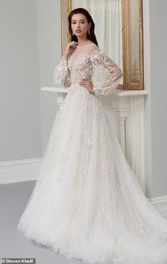 Leading designers share the bridal trends set to dominate in 2019 While romantic bridal styles never date, Steven Khalil said that they will be on trend more than ever in the next 12 months (pictured: his design) Dream Wedding Dresses, Bridal Dresses, Wedding Gowns, Winter Wedding Dress Ballgown, Wedding Outfits, Wedding Reception, Lace Wedding, Wedding Ideas, Wedding Dress Silhouette