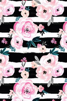 Sunset Rose Stripe by crystal_walen - Hand painted pink flowers with green leaves on a black striped painterly background. Bold striped floral pattern on fabric, wallpaper, and gift wrap. #homedecor #design #stripes #floral #flowers #bohochic #boho #home #interiordesign #blackandwhite