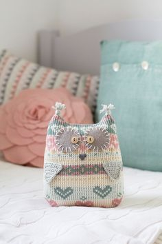 Pastel owl softie, patterned repurposed sweater toy, shabby chic nursery, dusty pink and mint owl, owl cuddly toy, whimsical kids room by byGu on Etsy