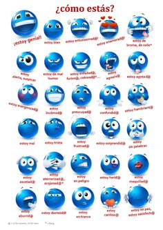 Spanish chart of emotions with faces - one of the many tools for teaching emotions and states of being in Spanish available at http://espanolparainmigrantes.wordpress.com/category/actividades-ejercicios/ #learning #languages
