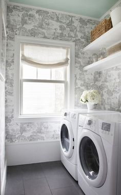 Laundry Room with Toile wallpaper and painted ceiling - Erin Gates Erin Gates, White Laundry Rooms, Small Laundry, Laundry Room Organization, Laundry Room Design, Basket Organization, Design Bathroom, Master Suite Addition, Relaxed Roman Shade