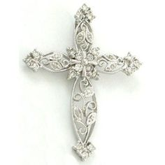 14K White Gold Diamond Cross Pendant - Fire and Ice