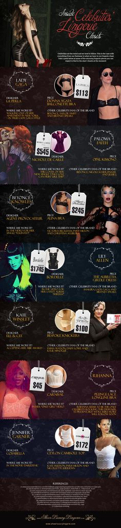 Inside Celebrities Lingerie Closets   #infographic #Celebrities #LifeStyle #Lingerie