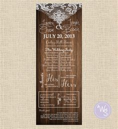 Wedding Program Wood & Lace Collection by WhimsicalStationary, $9.99