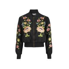 Floral Embroidered Bomber Jacket by Glamorous Petites (£65) ❤ liked on Polyvore featuring outerwear, jackets, black, floral jacket, floral print jacket, topshop jacket, blouson jacket and zip front jacket
