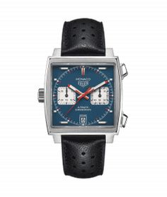The unique, square-faced icon of TAG Heuer's heritage and savoir-faire. Discover the TAG Heuer Monaco collection. Tag Heuer Monaco, Gents Watches, Seiko Watches, High End Watches, Watches For Men, Black Leather Watch, Swiss Army Watches, Fashion Watches, Tags