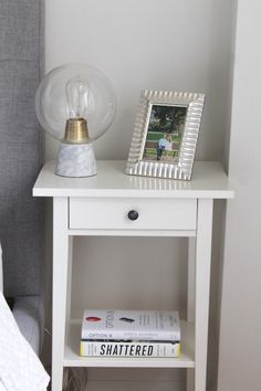 Creating a Calm and Cozy Bedroom ll www.littlechefbigappetite.com ll White Ikea Nightstand, West Elm Table Lamps, Silver Picture Frame, Edison Lightbulbs, Nightstand Ideas, Bedside Table, IKEA Bedroom, West Elm Bedroom, NYC Bedroom, Small Bedroom Ideas, Hygge Bedroom, Cozy Decor, Interior Decorating, White and Gray, White Bedroom, Budget Decorating, Low Cost Decorating, Decorating on a Budget, Inexpensive Decor, Calm Bedroom, Peaceful Bedroom, Master Bedroom, Bedroom Inspiration, Zen Bedroom
