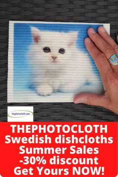 Eco-friendly photoprinted Swedish dishcloths, cleaning cloths. 30% off now in July as long as stock lasts! An all natural and zero waste alternative to paper towels. Plastic free and 100% compostable. Swedish Dishes, Natural Cleaning Products, Summer Sale, Gift Baskets, Cleaning Cloths, Paper Towels, Lettering, Zero Waste, Unique