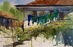 Teal, Blue and Green Laundry Day, Troyan, Bulgaria by Sandy Strohschein Watercolor ~ 12 x 16