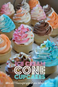 A Little Sugary Goodness: Easy Ice Cream Cone Cupcakes... my mom used to make things for me! !  So easy and no clean up