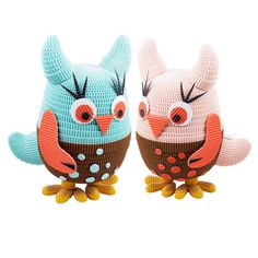 Handmade Girls and Baby Toy Owls. Available in 2 colours,  Pale Pink and Blue with Brown. Available for purchase as a set of 2.