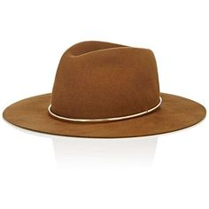 Janessa Leone Women's Savoy Wide-Brim Wool Fedora (13.025 RUB) ❤ liked on Polyvore featuring accessories, hats, brown, wool fedora, brown wool hat, brown fedora hat, wide brim fedoras and brown fedora