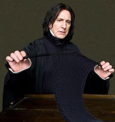 "severus snape, alan rickman, knitting, crafts. ""Snape knitting"" by mariannes_stuff on flickr. http://www.flickr.com/photos/mariannes_stuff/3764481414/"