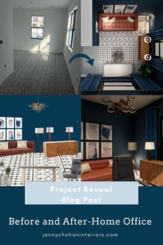 Hello there! This is a blog post about a recent virtual interior design home office project in Florida, USA. Designed by Jenny Chohan Interiors, Brantford, Ontario. The client's design style is Midcentury. So we collaborated and chose Mid Century furnishings, lighting and Mid Century decor.