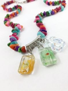 Colorful Agate Necklace Abstract Charms by OpenHeartOneLove