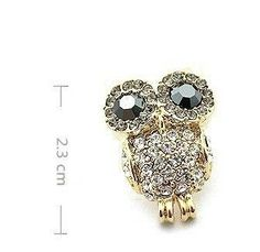 High Quality New Jewerlry Gold Plated Fashion Crystal Owl Stud Earrings Retro Gift Wholesale Free Shipping