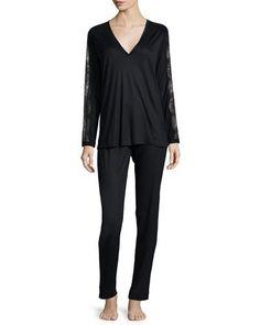 LA PERLA Charisma Lace-Sleeve Pajamas, Black. #laperla #cloth #