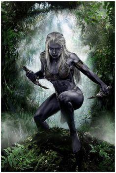 Dark Elf Warrior by Fantasy Warrior, Fantasy Girl, Fantasy Women, Fantasy Rpg, Dark Fantasy Art, Medieval Fantasy, Fantasy Artwork, Warrior Angel, Elf Warrior