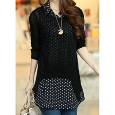 Hollow Out Design Long Sleeve Scoop Neck Sweater+Sleeveless Turn Down Collar Polka Dot Print Blouse Twinset For Women