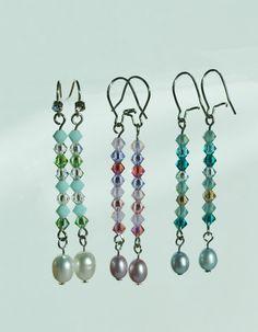 Crystal dangle earrings  set of 5 Ombre by KrykimoeKreations