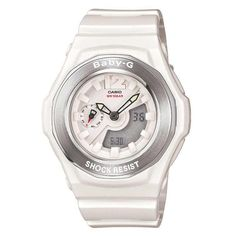 Womens Watches - Casio BGA140-7B Women's Baby-G Ana-Digi White Resin Alarm World Timer Multifunctional Watch