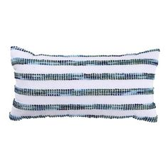• Made of cotton and polyester<br>• Hand wash<br>• Lumbar shape<br><br>Make any chair more comfortable with the addition of the White and Blue Striped Lumbar Pillow from Threshold. This rectangular throw pillow has a white background with fuzzy polka dots in shades of blue and green.