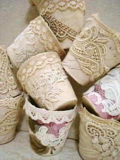 mini macetitas decoradas con encajes y puntillas, fáciles y bellas para regalar