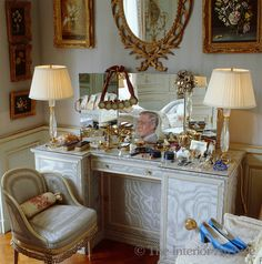 Vintage Dressing House of Windsor, Paris - The dressing table in the Duchess of Windsor's bedroom is a confection of pale blue silk moire - Decor, Furniture, Table, Luxury Vintage, Elegant Interiors, Interior, Vintage Dressing Tables, Trendy Bedroom, Luxurious Bedrooms