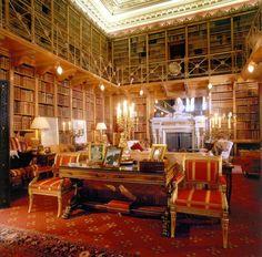 Alnwick Castle library, Northumberland, England, UK