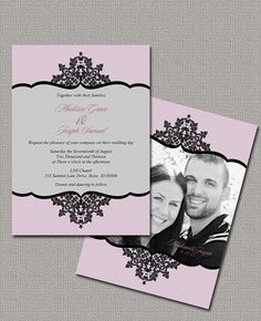 Printable Wedding Invitations, Photo Wedding Invitations, Customize your colors to make this invite your own!